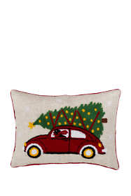 Christmas Tree on Car Decorative Throw Pillow