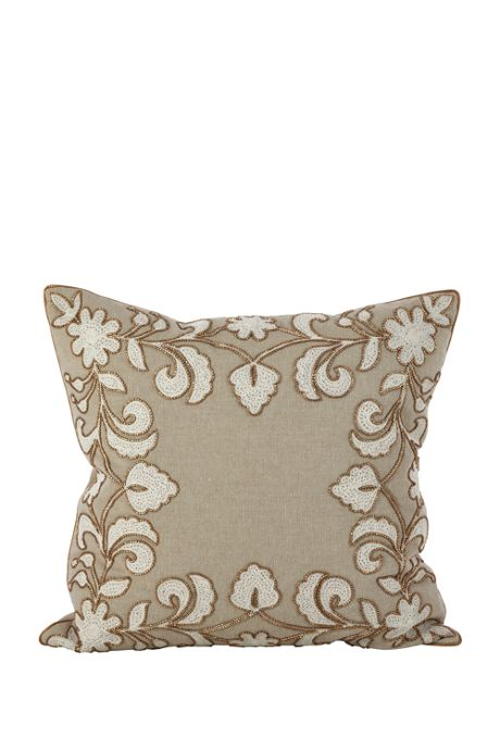 Beaded Floral Decorative Throw Pillow