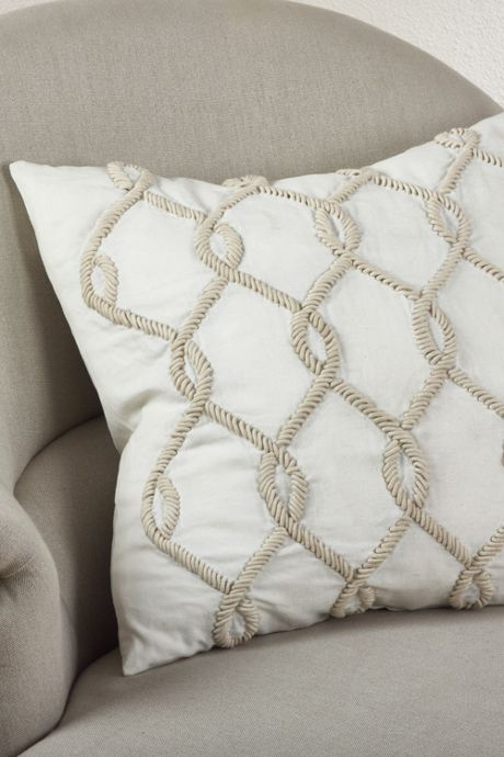 Embroidered Cord Design Decorative Throw Pillow