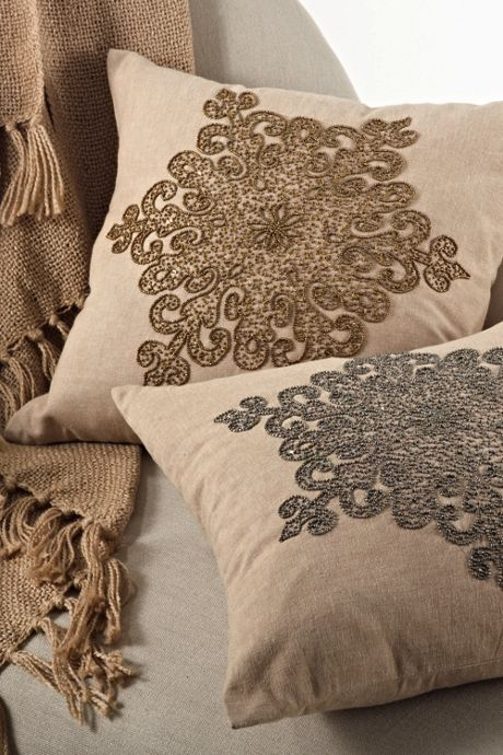 Beaded Snowflake Decorative Throw Pillow