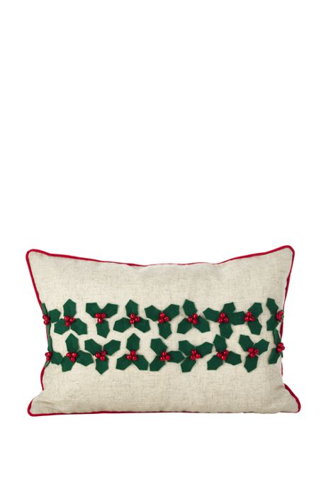 Christmas Holly Decorative Throw Pillow
