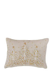 Embroidered Christmas Trees Decorative Throw Pillow