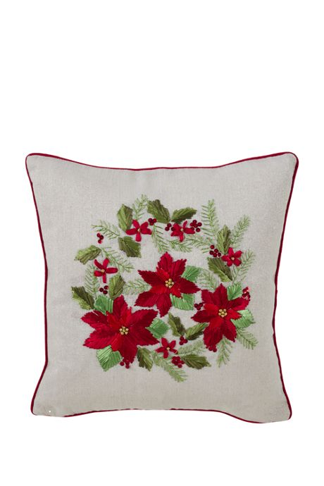 Christmas Poinsettias Decorative Throw Pillow