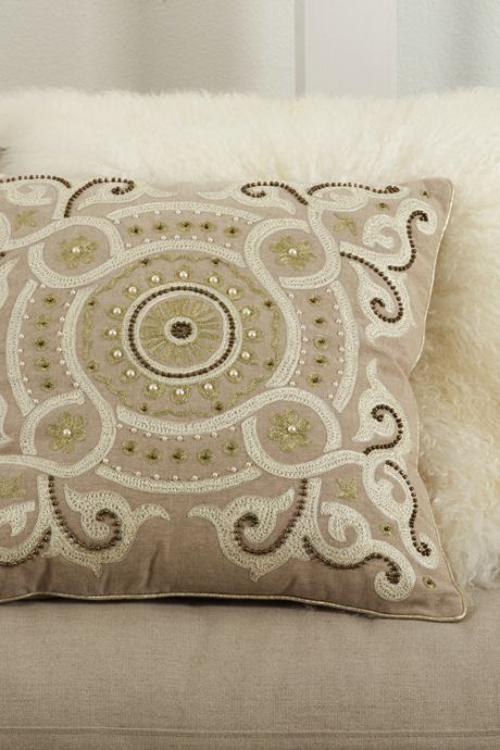 Embroidered and Beaded Decorative Throw Pillow