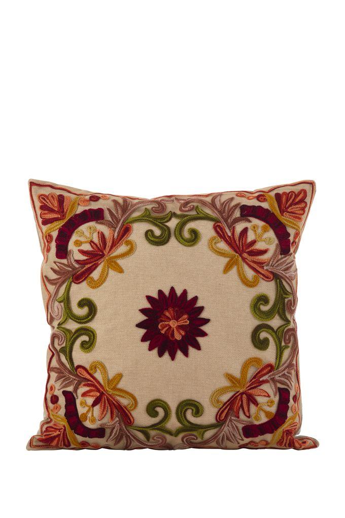 Floral Embroidered Dori Lumbar Pillow