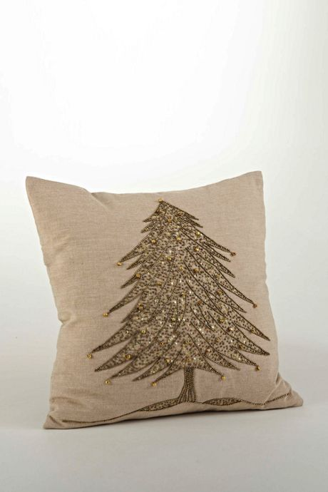 Beaded Christmas Tree Decorative Throw Pillow