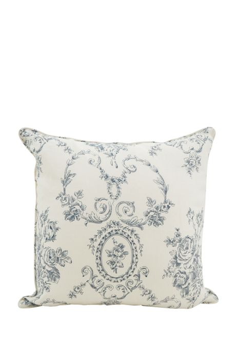 Floral and Toile Linen Decorative Throw Pillow