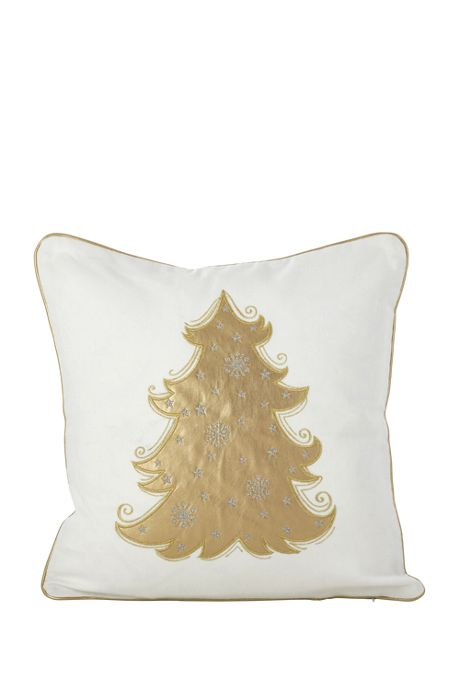Metallic Christmas Tree Decorative Throw Pillow