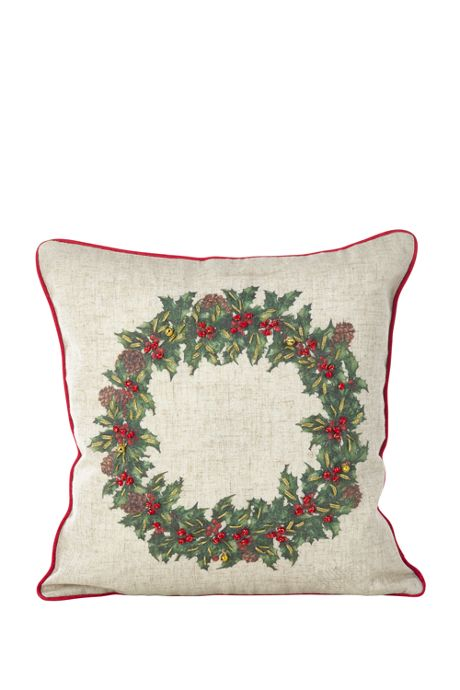 Christmas Holly Wreath Decorative Throw Pillow
