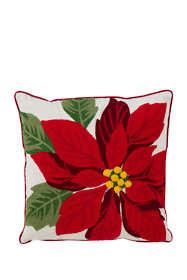Christmas Poinsettia Decorative Throw Pillow