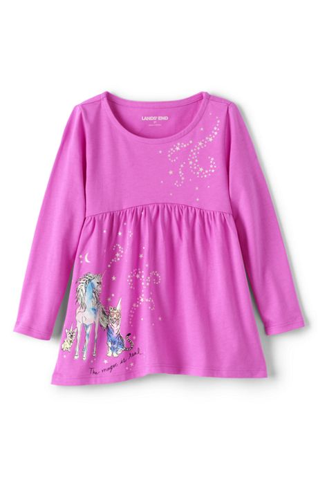 Toddler Girls Long Sleeve Yoke Tunic Top