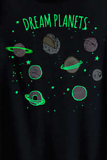 Girls Long Sleeve Glow in the Dark Pajama Set, alternative image