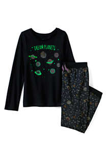 Toddler Girls Long Sleeve Glow in the Dark Pajama Set, alternative image