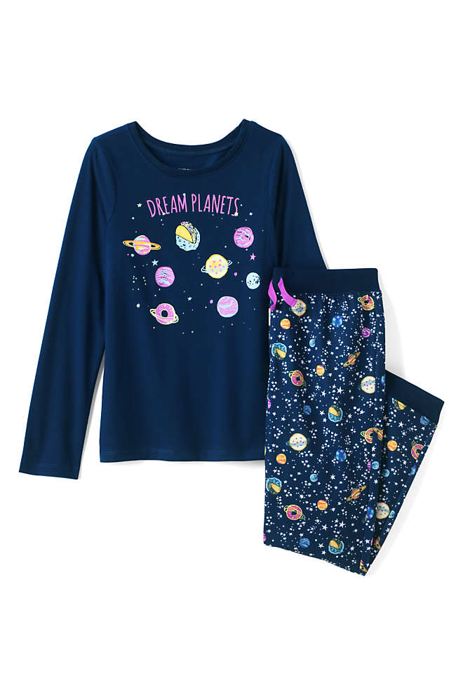Girls Long Sleeve Glow in the Dark Pajama Set, Front