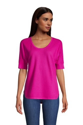 Women's Basketweave Short Sleeve Cotton Scoop Neck Jumper