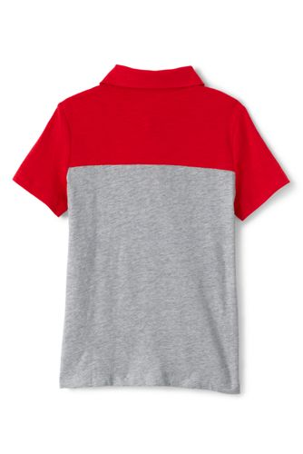 Boys Husky Short Sleeve Colorblock Pocket Slub Polo
