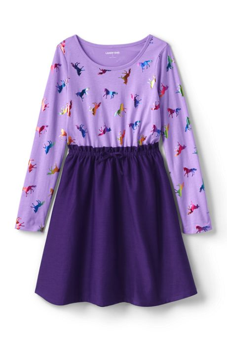 Toddler Girls Long Sleeve Fabric Mix Dress