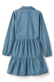 Girls Plus Size Long Sleeve Tiered Chambray Dress, Back