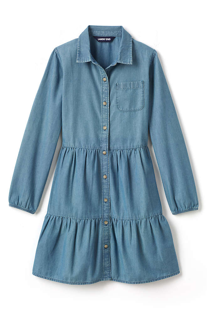 Girls Plus Size Long Sleeve Tiered Chambray Dress, Front