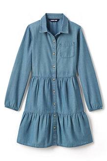 Chambray-Blusenkleid mit Volantsaum für Mädchen