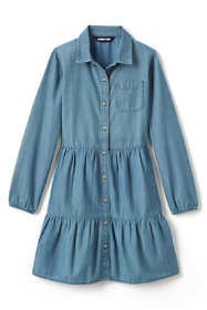 Girls Plus Size Long Sleeve Tiered Chambray Dress