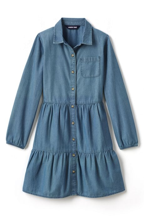 Little Girls Long Sleeve Tiered Chambray Dress