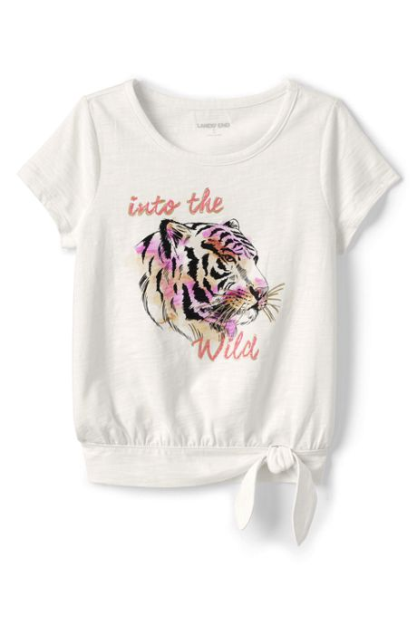 Little Girls Slub Tie Front Graphic Top
