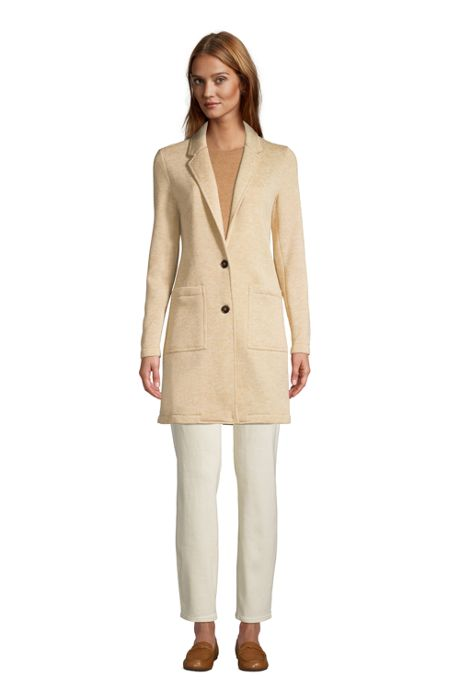 Women's Petite Sweater Fleece Long Blazer Coat