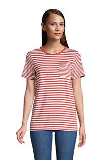 Gestreiftes Shirt aus Baumwoll/Modal mit Brusttasche und kurzen Ärmeln für Damen