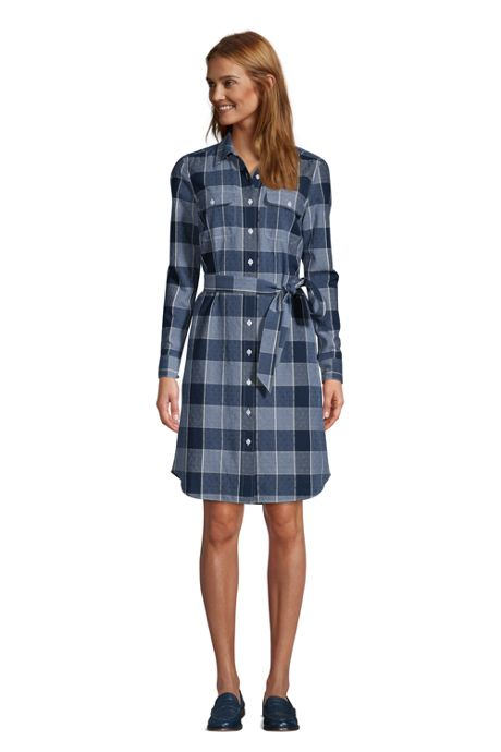 Women's Tall Cotton Dobby Button Front Long Sleeve Dress