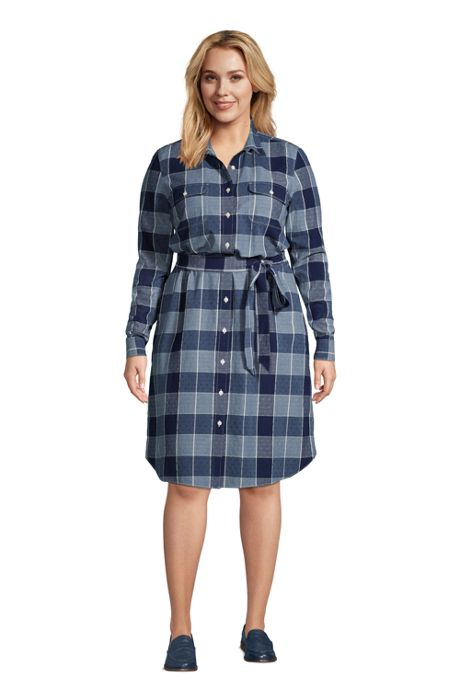 Women's Plus Size Cotton Dobby Button Front Long Sleeve Dress