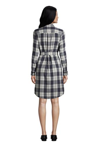 Women's Petite Cotton Flannel Long Sleeve Knee Length Shirt Dress
