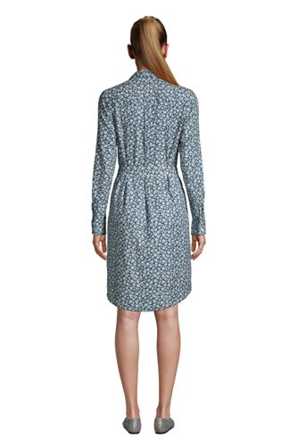 Women's Tall Cotton Flannel Long Sleeve Knee Length Shirt Dress