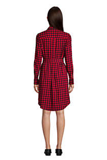 Women's Tall Cotton Flannel Long Sleeve Knee Length Shirt Dress, Back