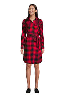 Women's Tall Cotton Flannel Long Sleeve Knee Length Shirt Dress, Front