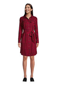 Women's Cotton Flannel Long Sleeve Knee Length Shirt Dress