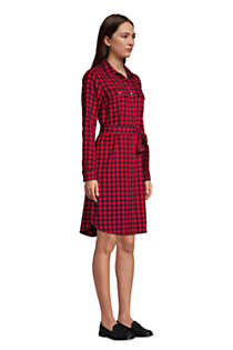Women's Tall Cotton Flannel Long Sleeve Knee Length Shirt Dress, alternative image