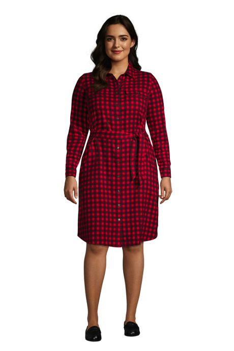 Women's Plus Size Flannel Long Sleeve Knee Length Shirt Dress