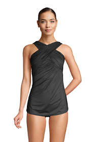 Women's Slender Suit Tummy Control Wrap High-neck Skirted One Piece Swimsuit with Adjustable Straps