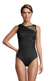 Women's Slender Suit High-neck Draped Illusion Mesh Tummy Control One Piece Swimsuit