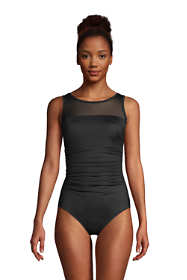 Women's Slender Suit High-neck Illusion Mesh Tummy Control One Piece Swimsuit
