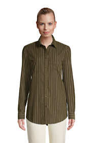 Women's Petite Corduroy Boyfriend Fit Long Sleeve Tunic Top