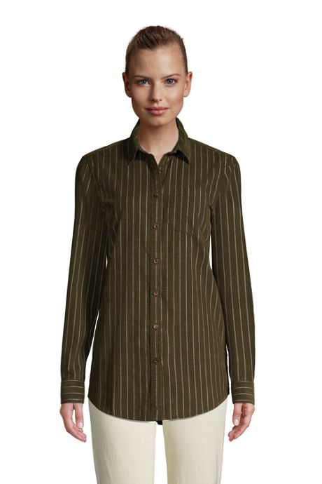 Women's Tall Corduroy Boyfriend Fit Long Sleeve Tunic Top