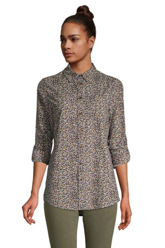 Women's Plus Corduroy Roll-Sleeve Boyfriend Tunic Shirt