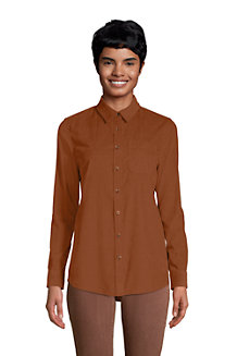 Women's Corduroy Roll-Sleeve Boyfriend Tunic Shirt