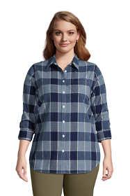 Women's Plus Size Cotton Boyfriend Fit Roll Sleeve Tunic Top