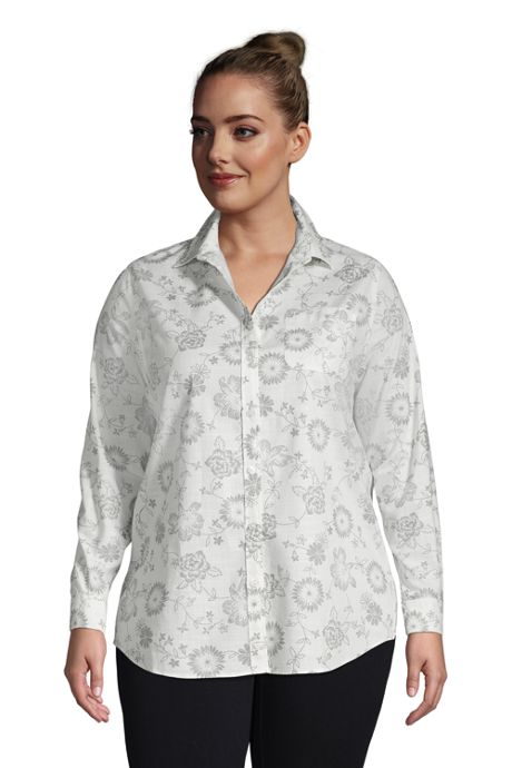 Women's Plus Size Cotton Boyfriend Fit Roll Sleeve Tunic Top