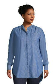 Women's Plus Size Chambray A-Line Long Sleeve Tunic Top
