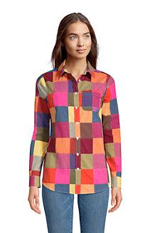 レディス・美型シルエット・コットン・ゆったりシャツ/ロールアップ袖