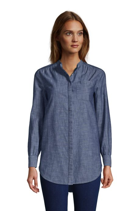 Women's Chambray A-Line Long Sleeve Tunic Top